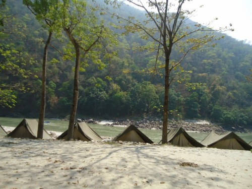 Out tents besides River bed!