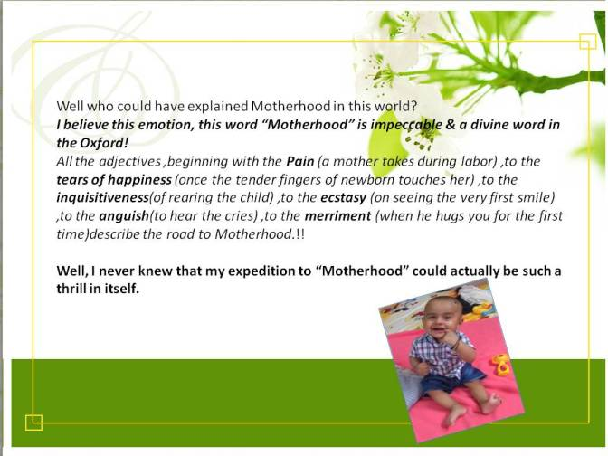 Thrill called Motherhood!!